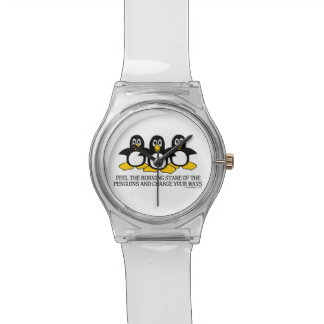 Feel the burning stare of the penguins wristwatches