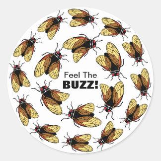 Feel the Buzz Cicada Magicicada Colorful Party Classic Round Sticker