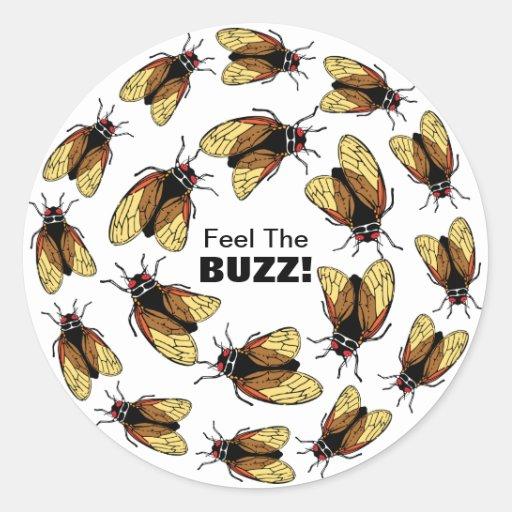 Feel the Buzz Cicada Magicicada Colorful Party Sticker