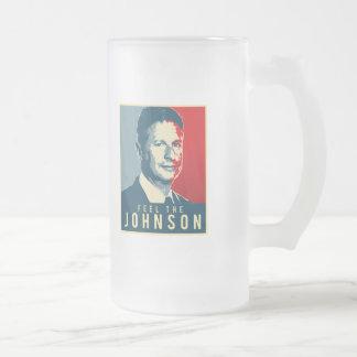 Feel the Johnson - Gary Johnson Propaganda Poster  Frosted Glass Beer Mug