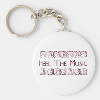 Feel the Music Basic Round Button Keychain