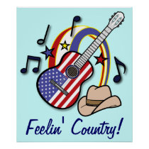 Feelin' Country Guitar and Flag Poster