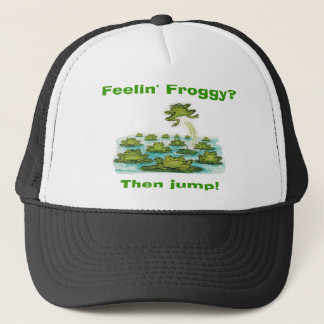 feelin froggy trucker hat