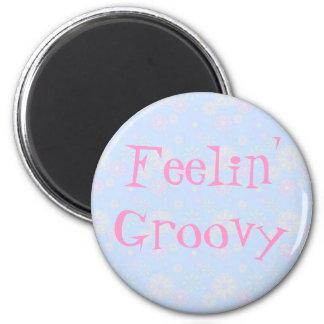 Feelin' Groovy Flower Child 2 Inch Round Magnet