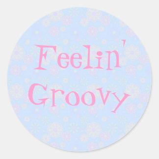 Feelin' Groovy Flower Child Round Stickers