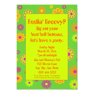 Feelin' Groovy Flower Power Party Invitation