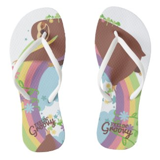 Feelin groovy funny sloth retro hippie rainbow flip flops