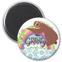 Feelin groovy funny sloth retro hippie rainbow magnet