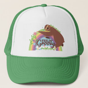 Feelin groovy funny sloth retro hippie rainbow trucker hat 4e3817be9d7