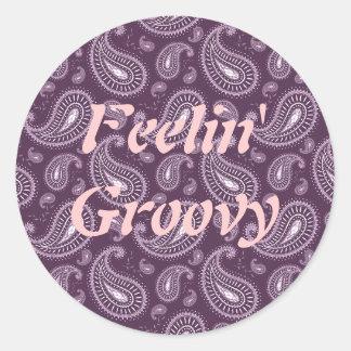 Feelin' Groovy Purple Paisley Round Stickers