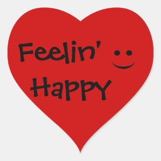 Feelin' Happy Smile Red Heart Sticker