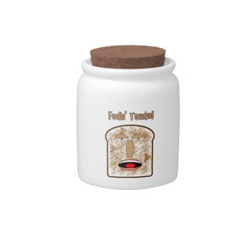 Feelin tostó la tostada del dibujo animado jarra para caramelo