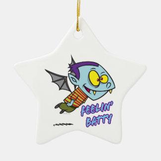 feeling batty funny vampire kid toon ceramic ornament
