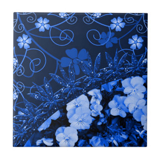 Feeling Blue Floral & Glitter Ceramic Tile