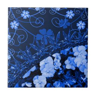 Feeling Blue Floral & Glitter Ceramic Tile