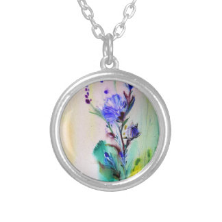 Feeling Blue Round Pendant Necklace