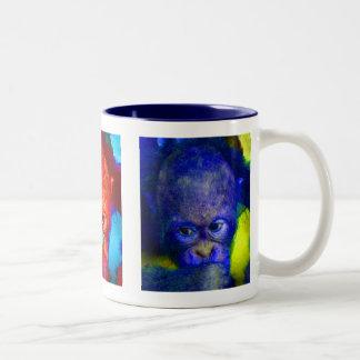 Feeling Blue Triptych Animal Two-Tone Coffee Mug
