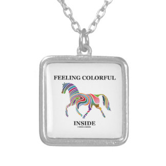 Feeling Colorful Inside (Horse Color Swirl) Square Pendant Necklace