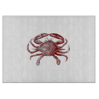 Feeling Crabby Red Pencil Crab Sketch Cutting Board