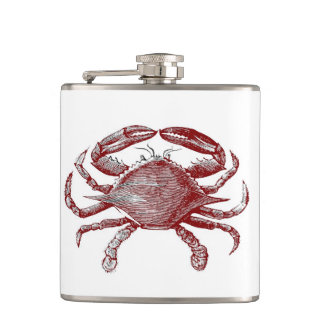 Feeling Crabby Red Pencil Crab Sketch Hip Flask