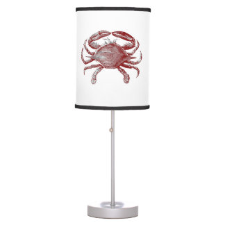 Feeling Crabby Red Pencil Crab Sketch Table Lamps