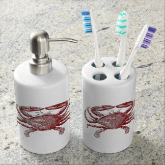 Feeling Crabby Red Pencil Crab Sketch Soap Dispenser & Toothbrush Holder