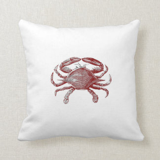 Feeling Crabby Red Pencil Crab Sketch Throw Pillow