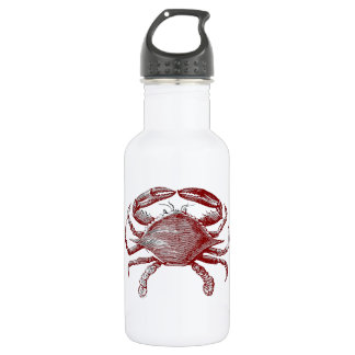 Feeling Crabby Red Pencil Crab Sketch Water Bottle