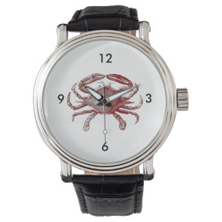 Feeling Crabby Red Pencil Crab Sketch Wrist Watch