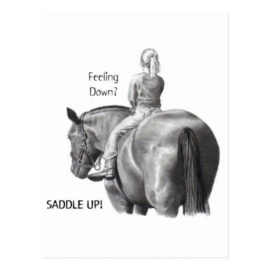 FEELING DOWN? SADDLE UP! PENCIL HORSE ART POSTCARD