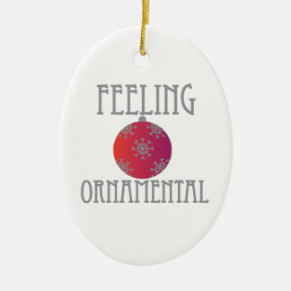 Feeling Ornamental Double-Sided Oval Ceramic Christmas Ornament