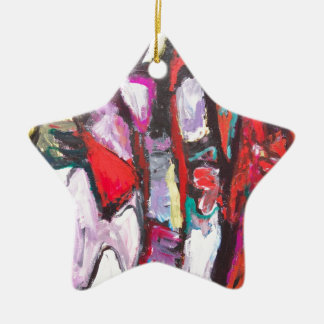 Feeling Pink rather than Red (abstract  painting) Ceramic Ornament