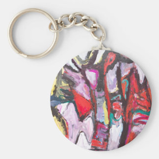 Feeling Pink rather than Red (abstract  painting) Keychain