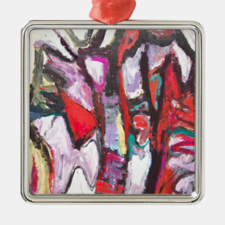 Feeling Pink rather than Red (abstract  painting) Metal Ornament