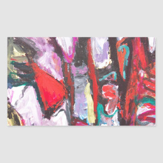 Feeling Pink rather than Red (abstract  painting) Rectangular Sticker