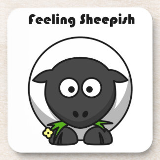 Feeling Sheepish Lamb Cartoon Beverage Coaster