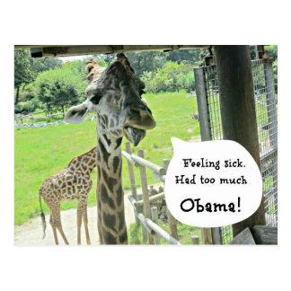 Feeling sick...had too much...OBAMA! Postcard