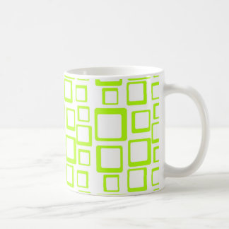 Feeling Sixties Fluo Green Squares On White Mug