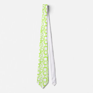 Feeling Sixties Fluo Green Squares On White Tie