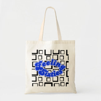 Feeling Sixties Text and Black On White Squares  B Tote Bag
