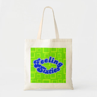 Feeling Sixties Text With Fluo Green Squares  Bag