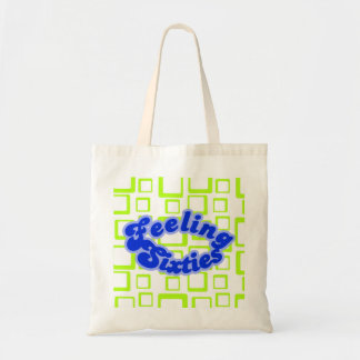 Feeling Sixties Text With Fluo Green Squares On Wh Tote Bag