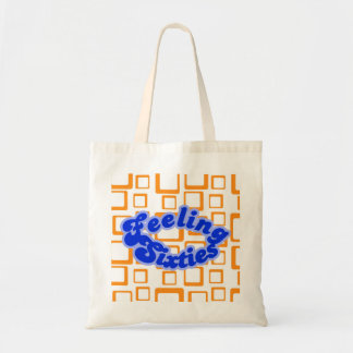 Feeling Sixties Text With Orange On White Squares  Tote Bag