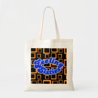Feeling Sixties Text With Orange Squares On Black  Tote Bag