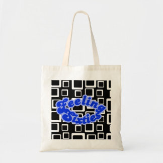 Feeling Sixties Text With White on Black Squares B Tote Bag