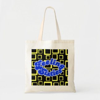 Feeling Sixties Text With Yellow Squares On Black  Tote Bag