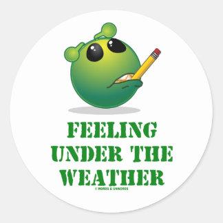 Feeling Under The Weather (Green Alien Attitude) Round Stickers
