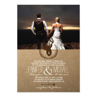 feelings love in sunset.couple wedding/deer,rustic card