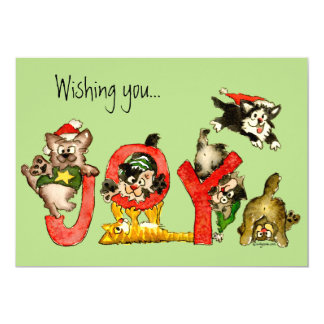 Feelings of Joy Kitten Cats Holiday Xmas Card