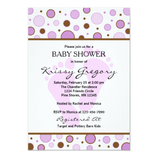 Feet and Dots Purple Baby Shower Invitations